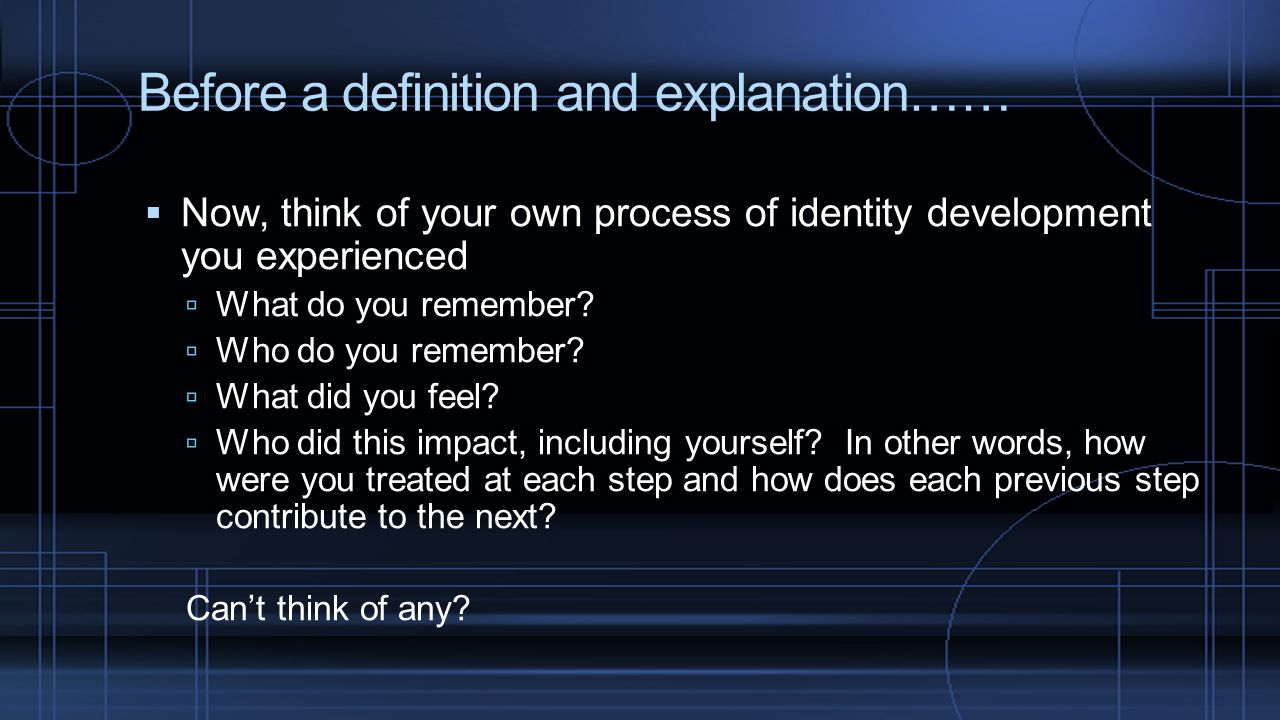 Before a definition and explanation……