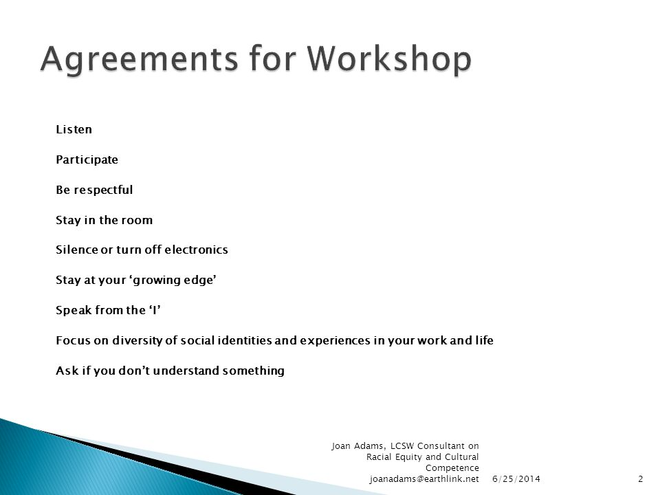 Agreements for Workshop