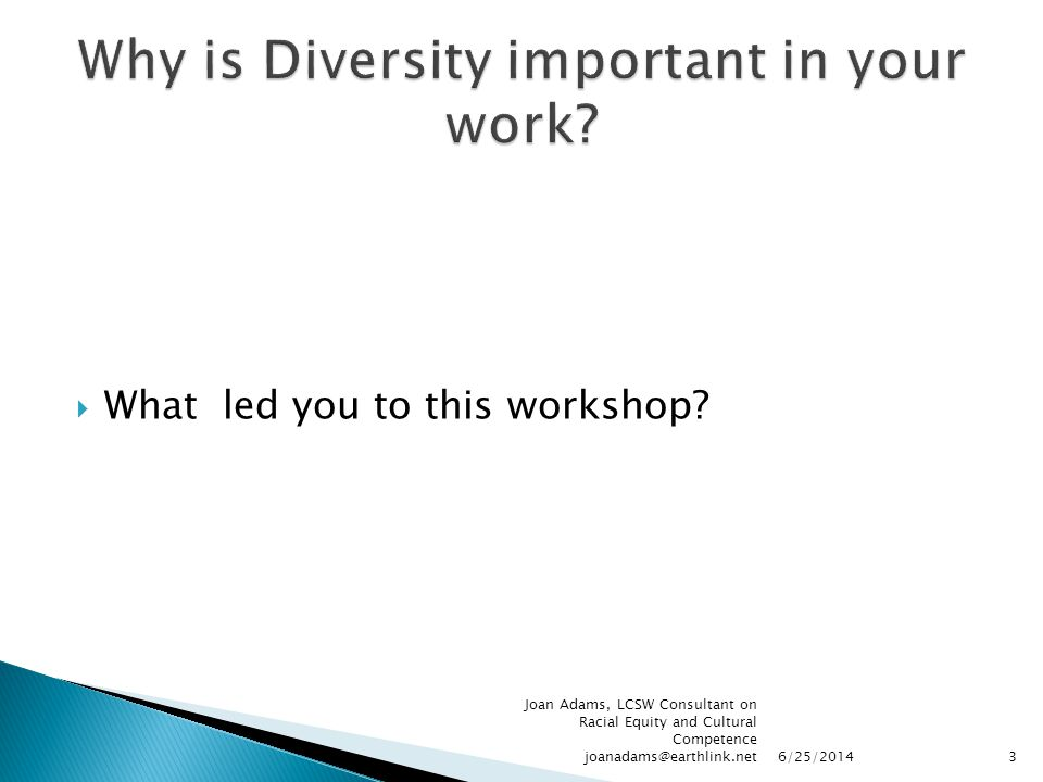 Why is Diversity important in your work