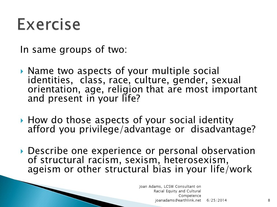 Exercise In same groups of two: