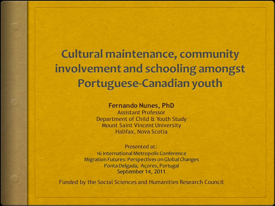 Cultural maintenance, community involvement and schooling amongst Portuguese-Canadian youth