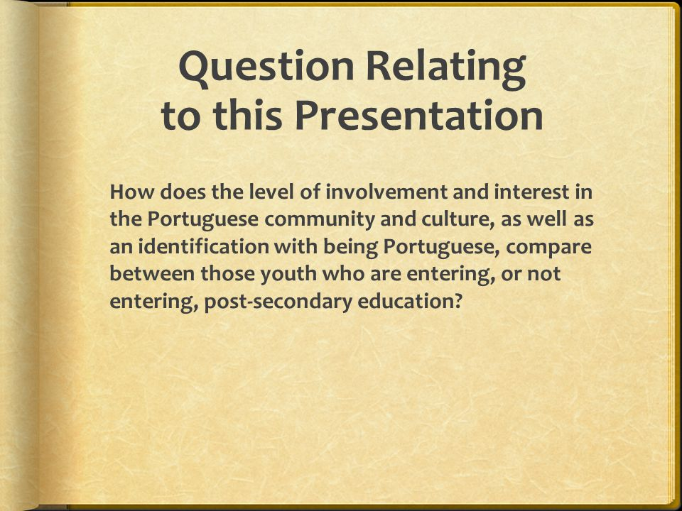 Question Relating to this Presentation