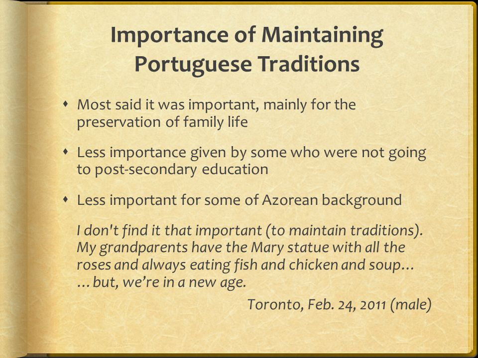 Importance of Maintaining Portuguese Traditions