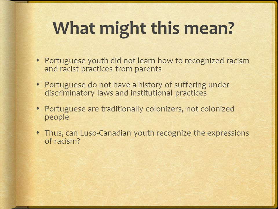 What might this mean Portuguese youth did not learn how to recognized racism and racist practices from parents.