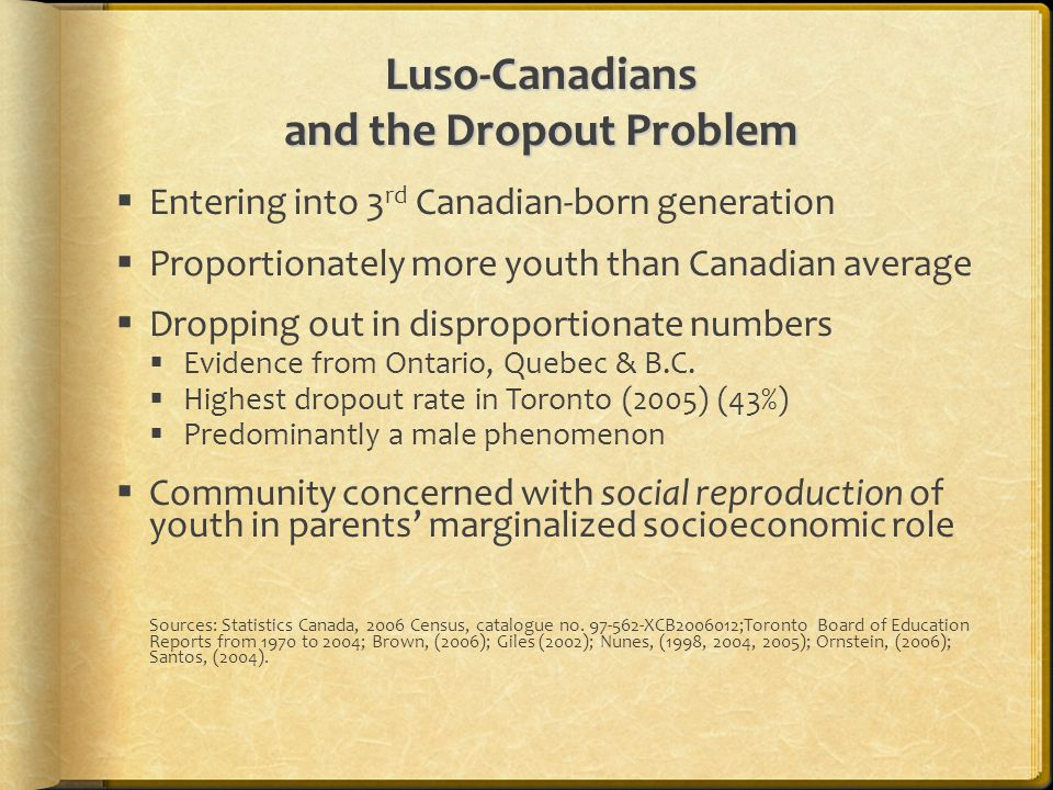 Luso-Canadians and the Dropout Problem