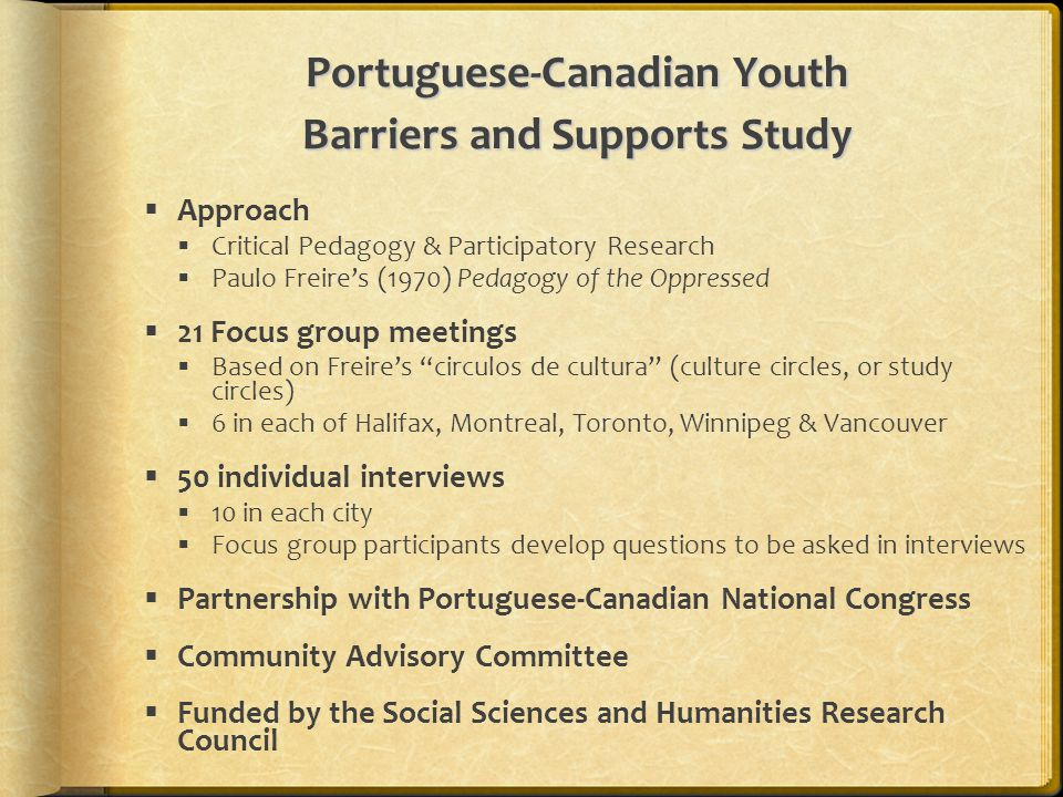 Portuguese-Canadian Youth Barriers and Supports Study