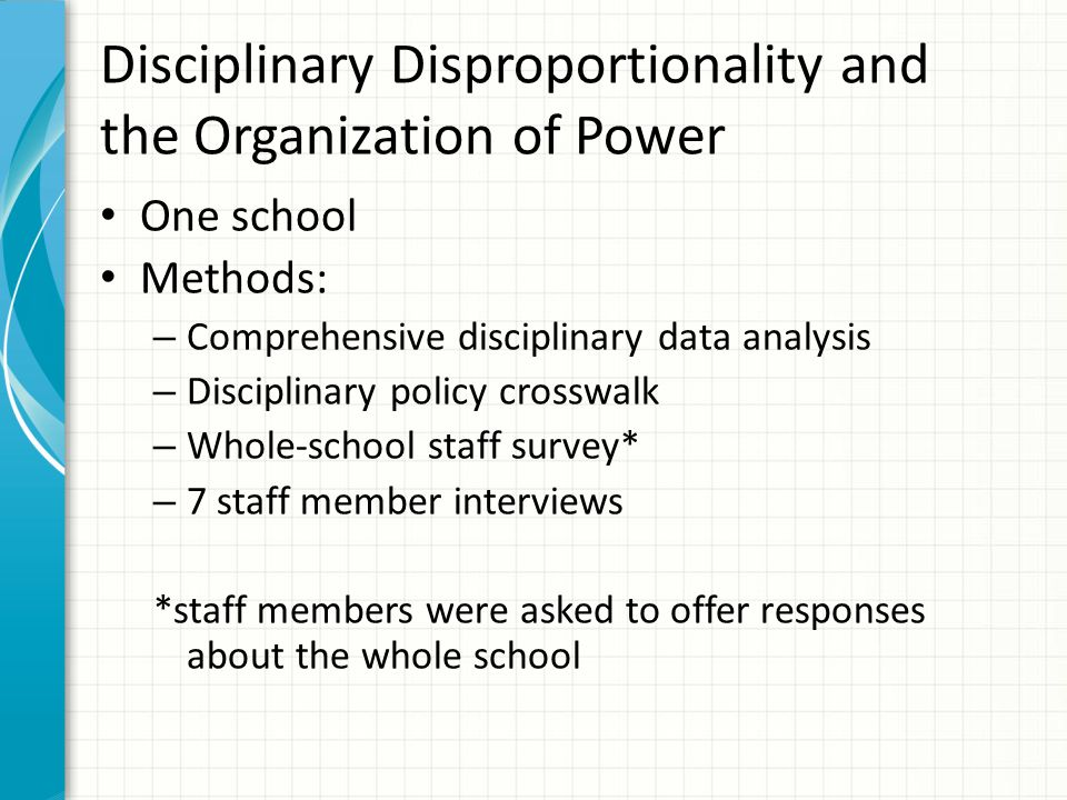 Disciplinary Disproportionality and the Organization of Power