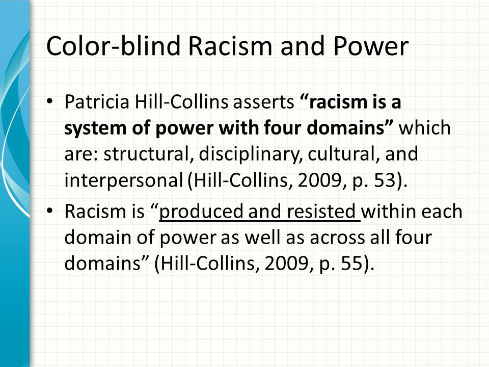 Color-blind Racism and Power