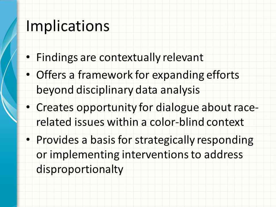 Implications Findings are contextually relevant