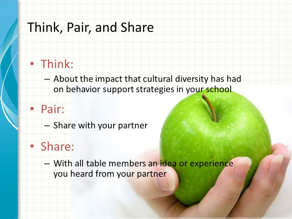 Think, Pair, and Share Think: Pair: Share: