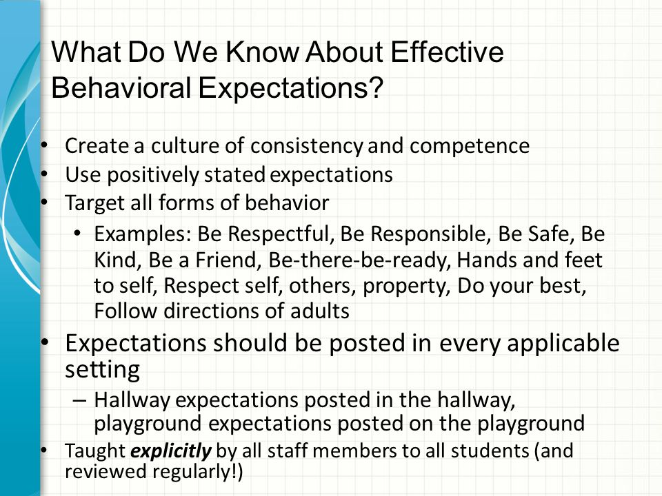 What Do We Know About Effective Behavioral Expectations