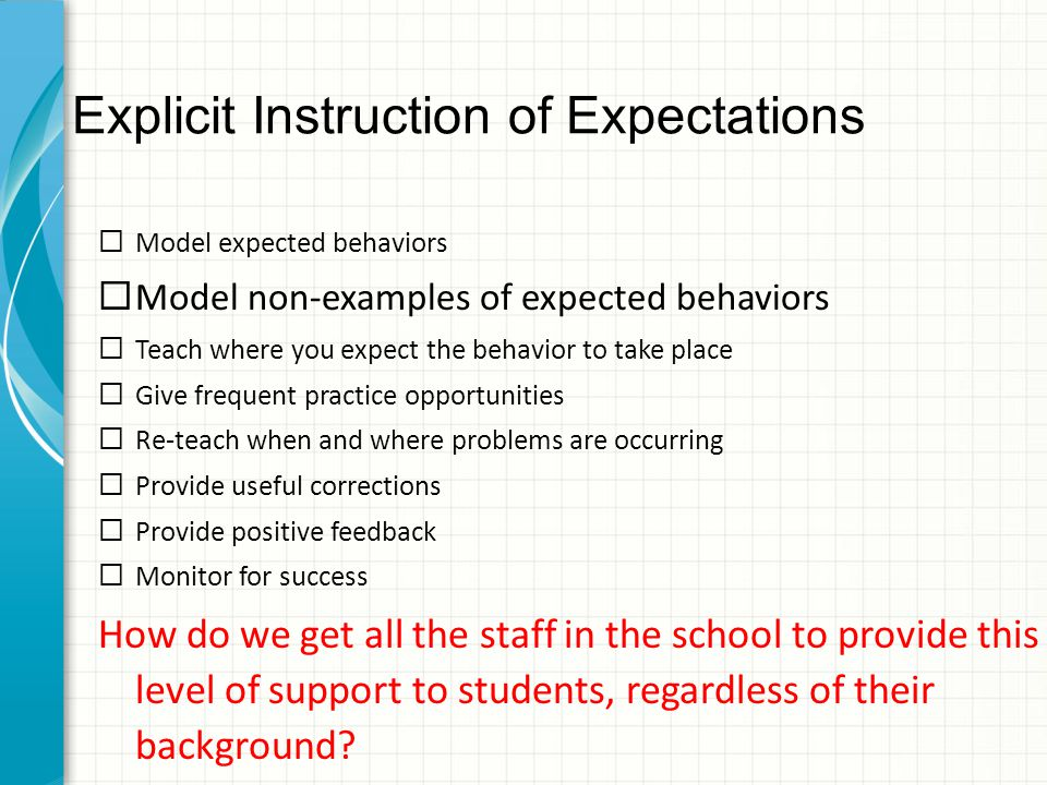Explicit Instruction of Expectations