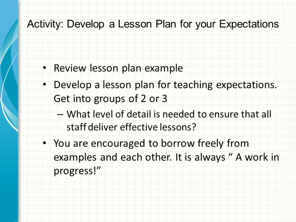 Activity: Develop a Lesson Plan for your Expectations