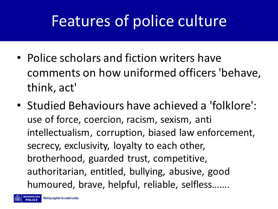 Features of police culture