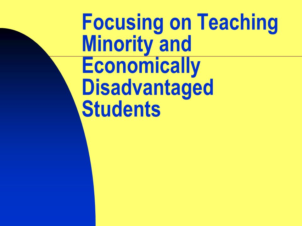 Focusing on Teaching Minority and Economically Disadvantaged Students