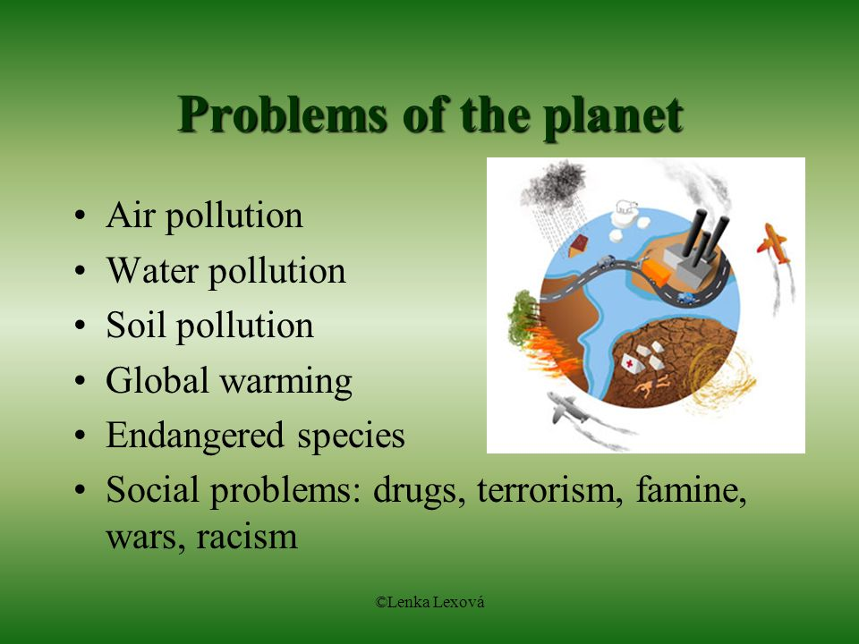 Problems of the planet Air pollution Water pollution Soil pollution