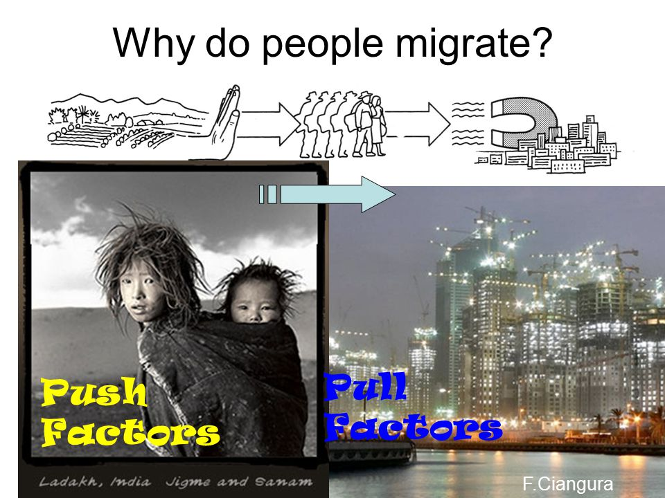Why do people migrate Pull Factors Push Factors F.Ciangura