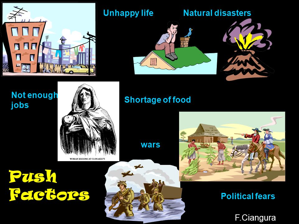 Push Factors Unhappy life Natural disasters Not enough jobs