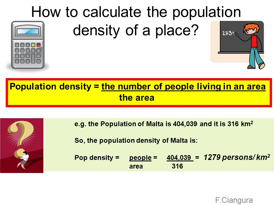 How to calculate the population density of a place