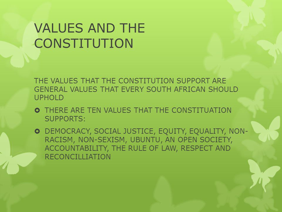 VALUES AND THE CONSTITUTION