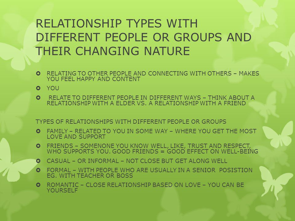 RELATIONSHIP TYPES WITH DIFFERENT PEOPLE OR GROUPS AND THEIR CHANGING NATURE