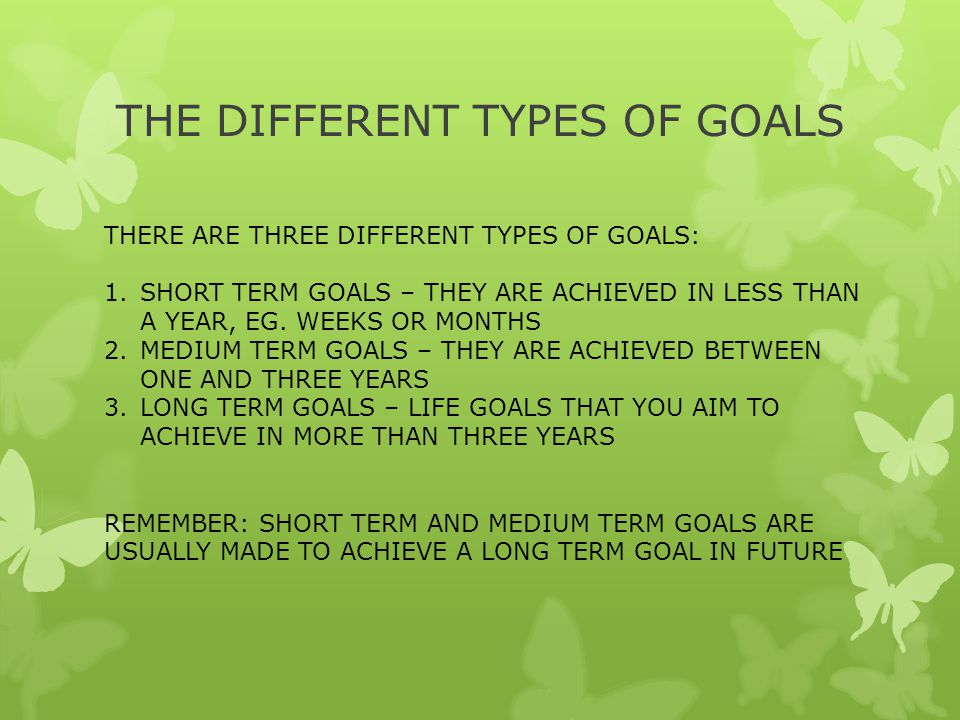 THE DIFFERENT TYPES OF GOALS