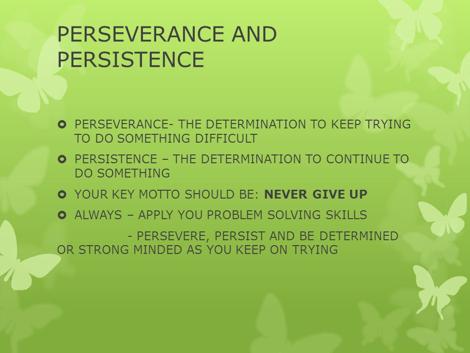 PERSEVERANCE AND PERSISTENCE