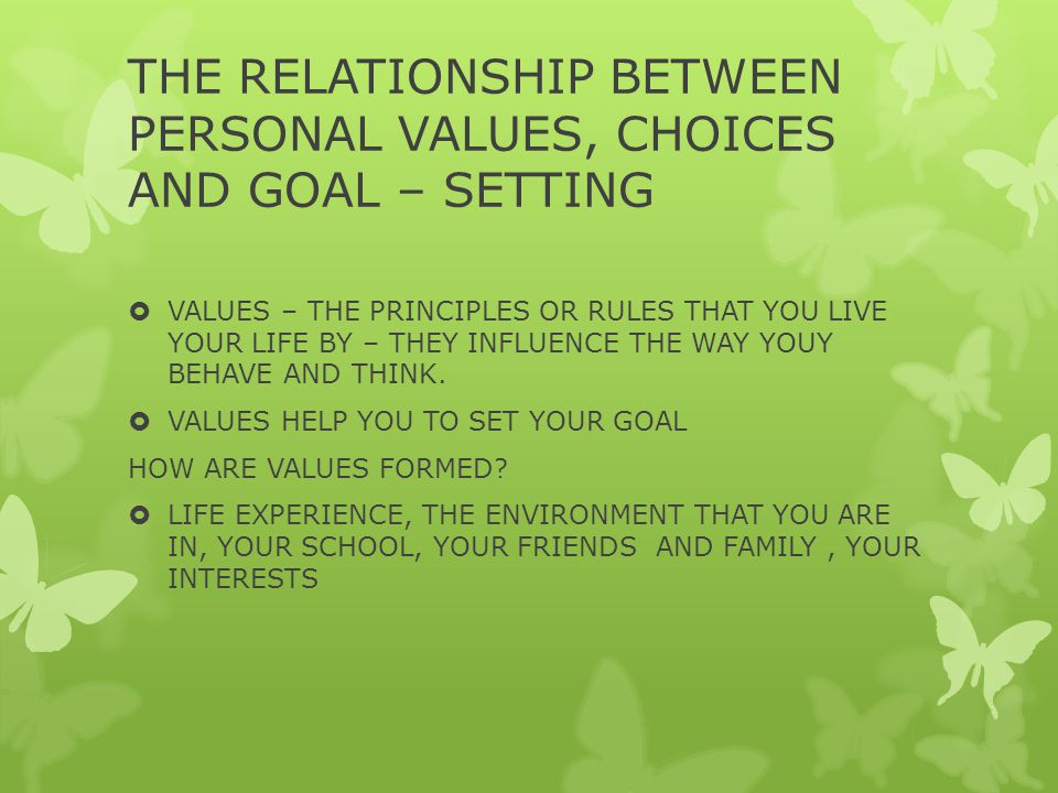 THE RELATIONSHIP BETWEEN PERSONAL VALUES, CHOICES AND GOAL – SETTING