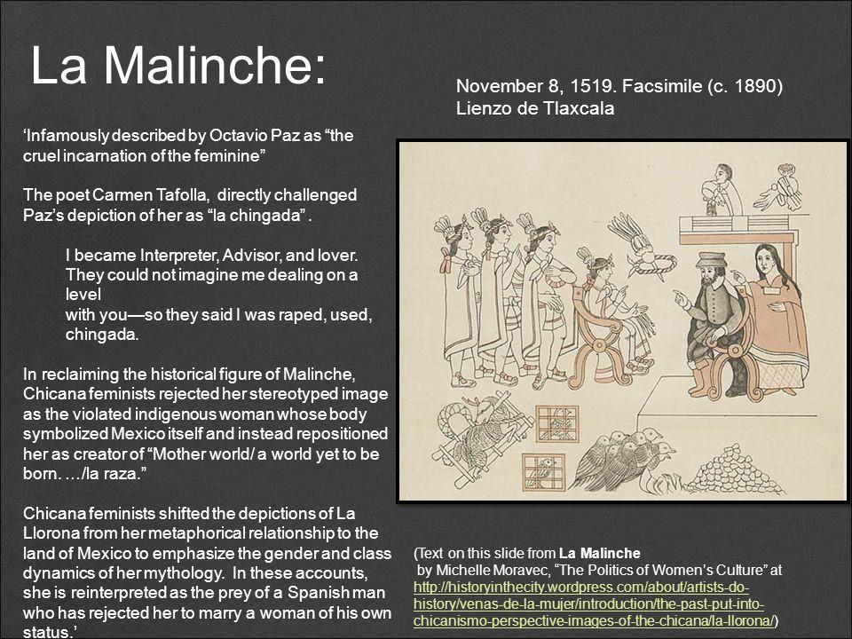 La Malinche: November 8, 1519. Facsimile (c. 1890) Lienzo de Tlaxcala
