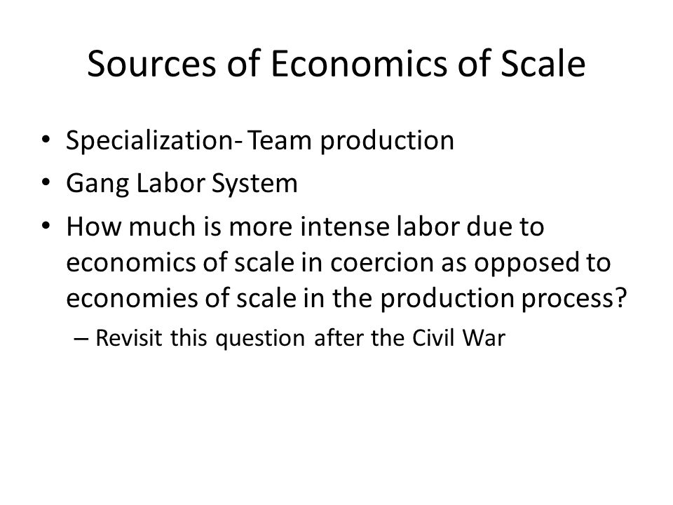Sources of Economics of Scale