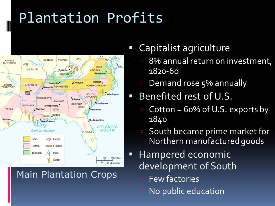 Plantation Profits Capitalist agriculture Benefited rest of U.S.