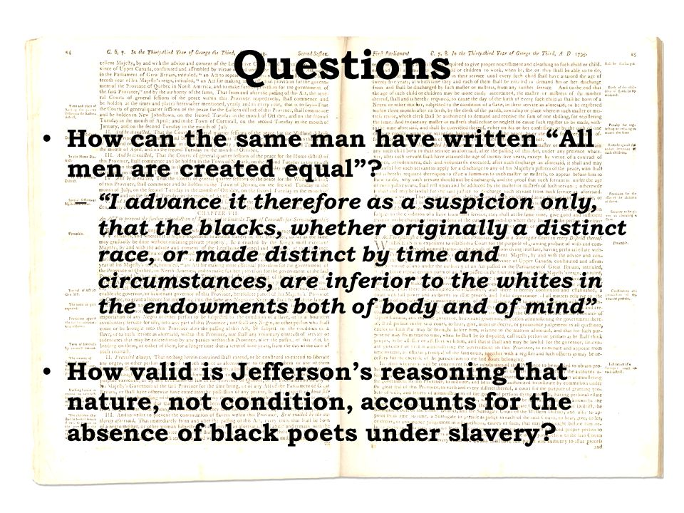 Questions How can the same man have written All men are created equal