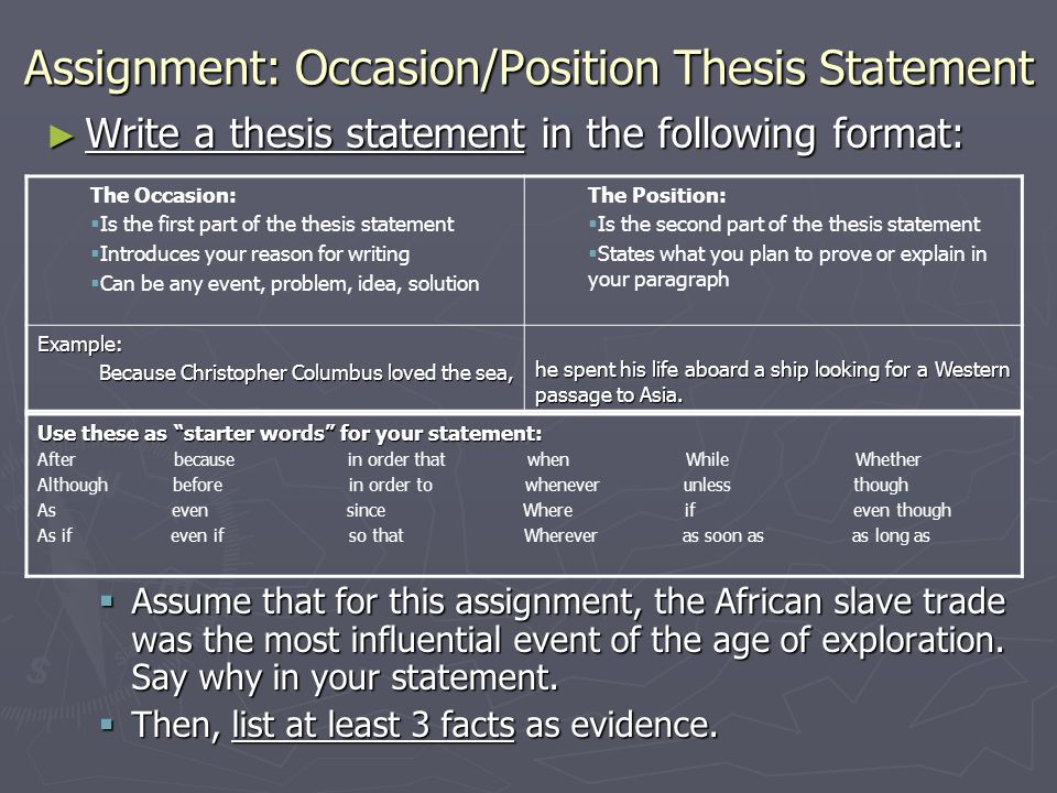 Assignment: Occasion/Position Thesis Statement