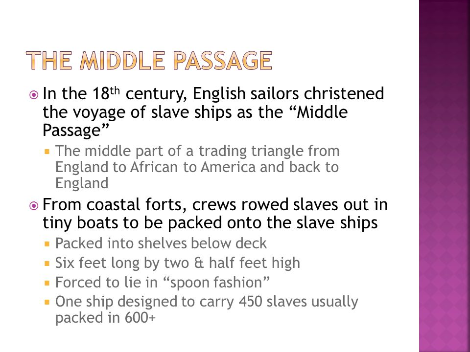The Middle Passage In the 18th century, English sailors christened the voyage of slave ships as the Middle Passage