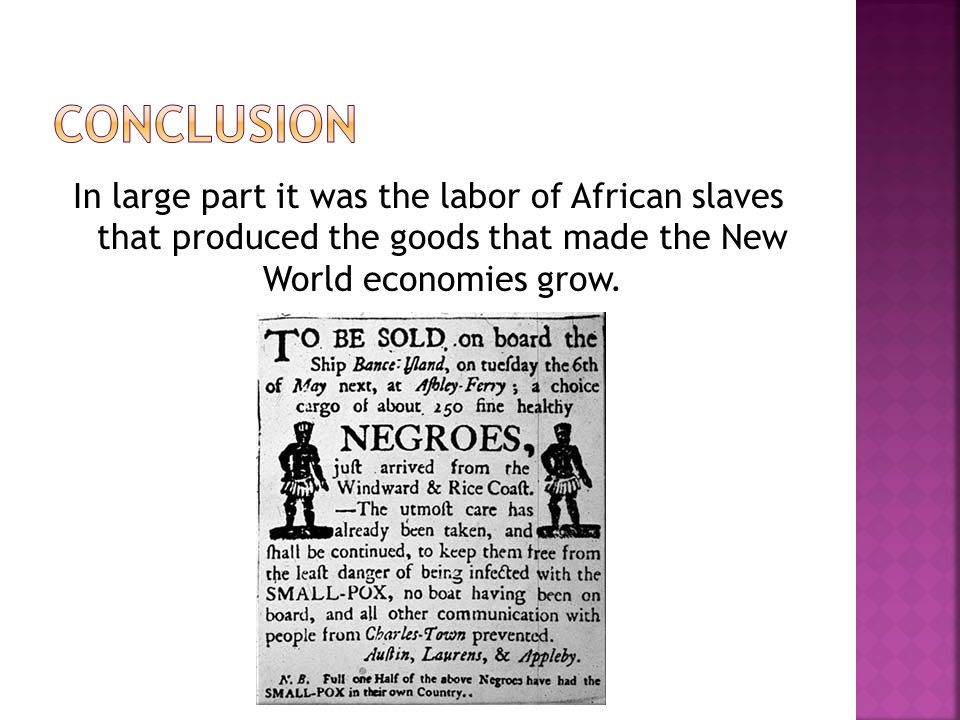 Conclusion In large part it was the labor of African slaves that produced the goods that made the New World economies grow.