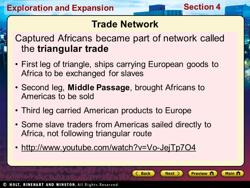 Captured Africans became part of network called the triangular trade