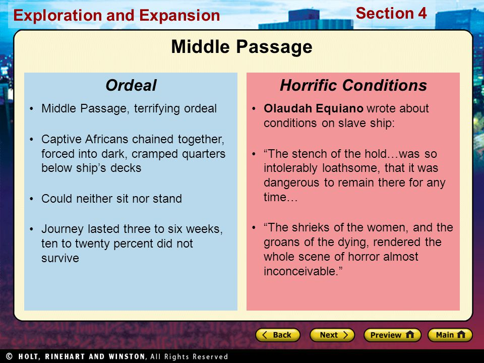 Middle Passage Ordeal Horrific Conditions