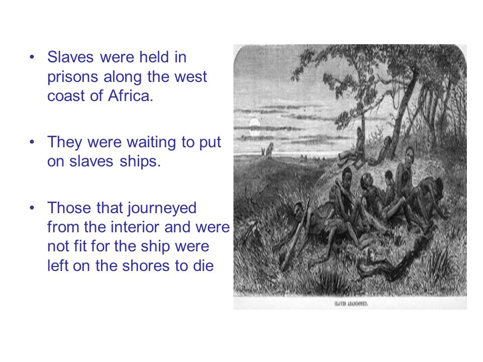 Slaves were held in prisons along the west coast of Africa.
