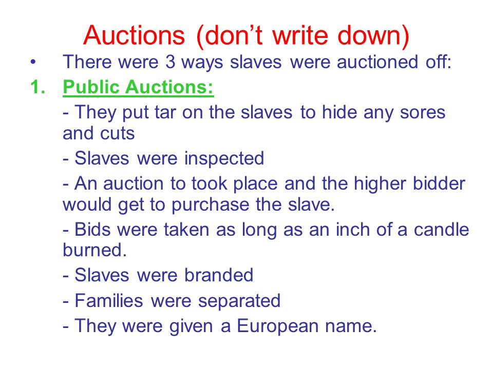 Auctions (don't write down)