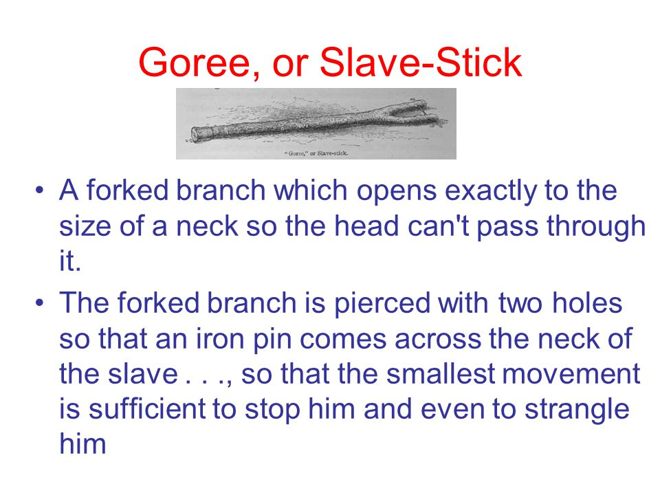 Goree, or Slave-Stick A forked branch which opens exactly to the size of a neck so the head can t pass through it.