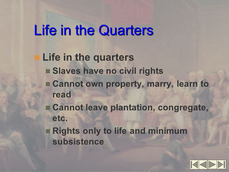 Life in the Quarters Life in the quarters Slaves have no civil rights