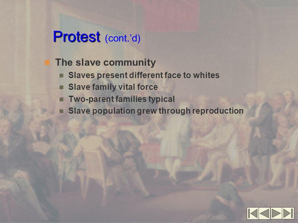 Protest (cont.'d) The slave community