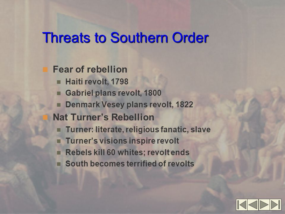 Threats to Southern Order
