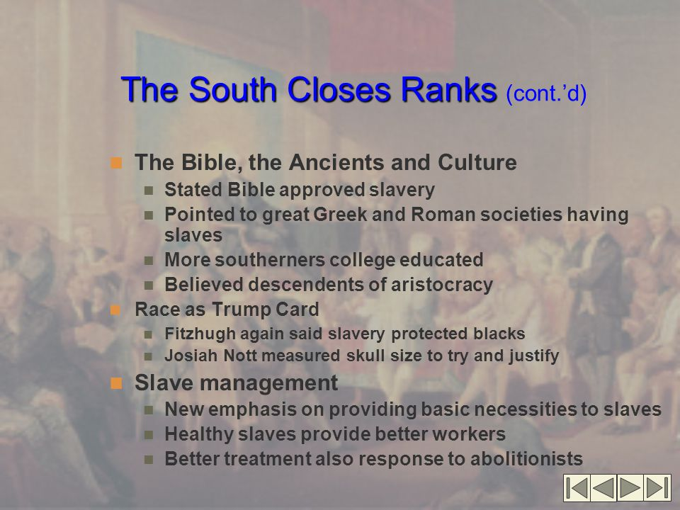 The South Closes Ranks (cont.'d)