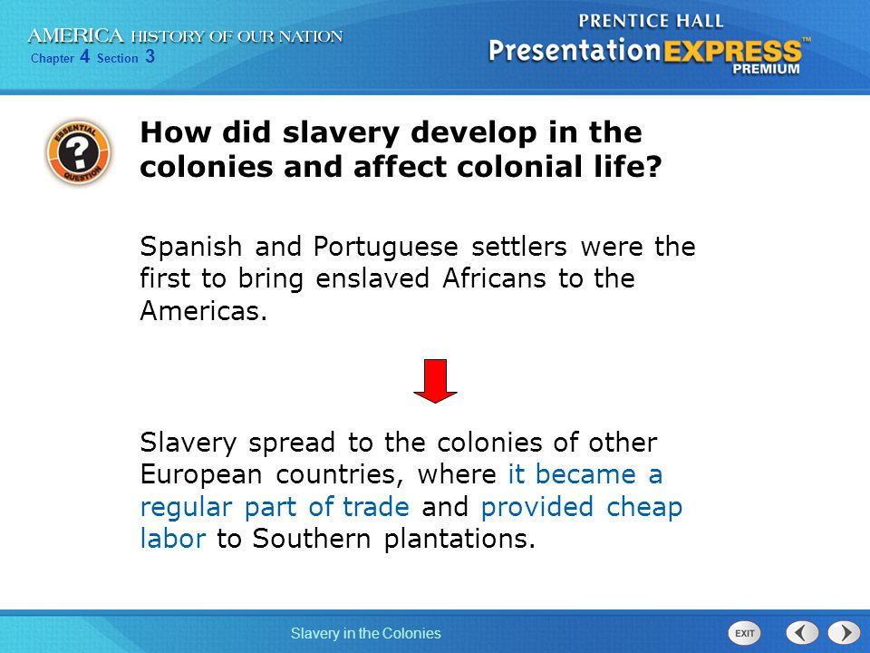 How did slavery develop in the colonies and affect colonial life