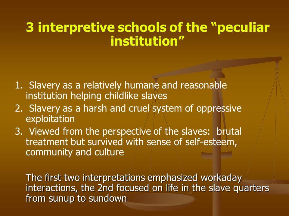 3 interpretive schools of the peculiar institution