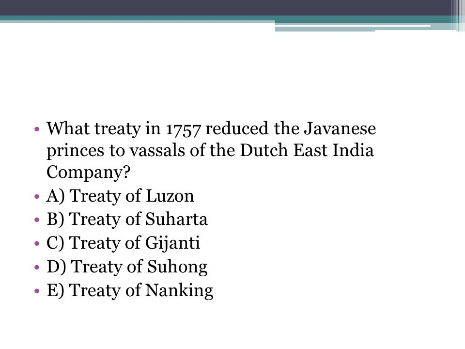 What treaty in 1757 reduced the Javanese princes to vassals of the Dutch East India Company