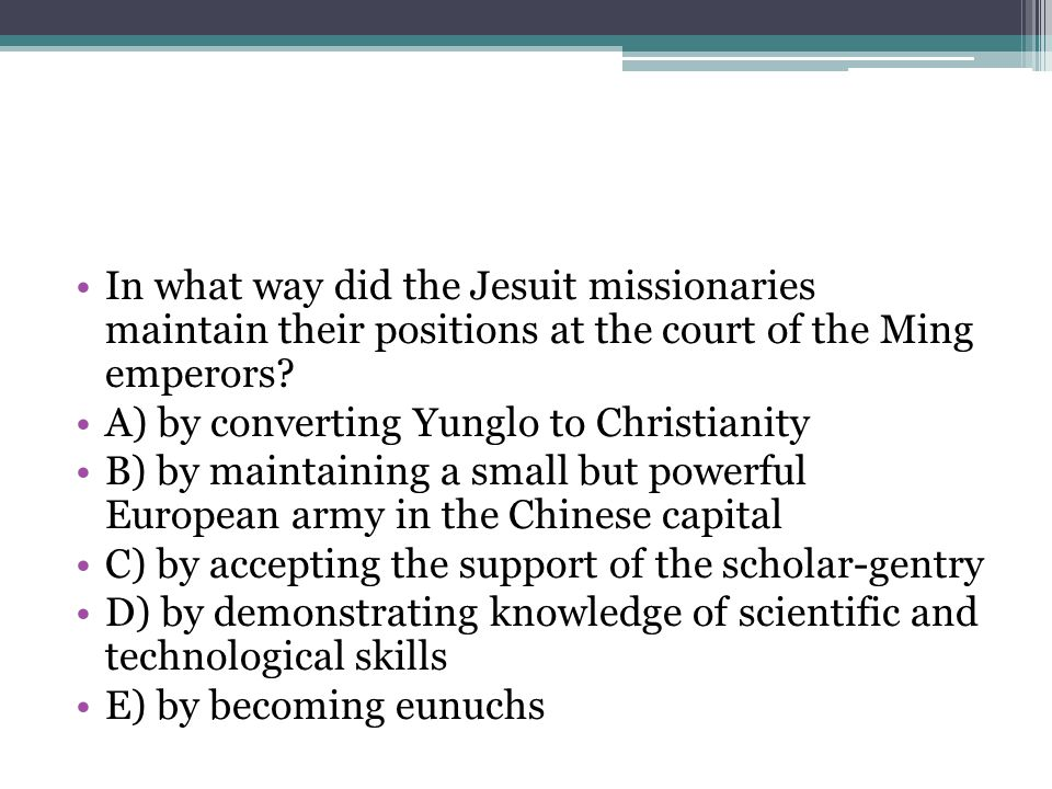 In what way did the Jesuit missionaries maintain their positions at the court of the Ming emperors