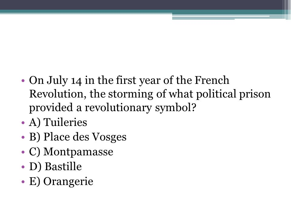 On July 14 in the first year of the French Revolution, the storming of what political prison provided a revolutionary symbol