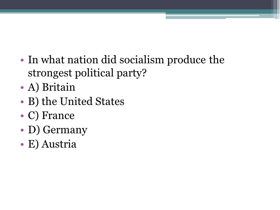 In what nation did socialism produce the strongest political party